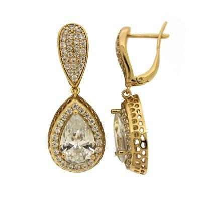AE14 Σκουλαρίκια χρυσά alloy ροζέτα με πέτρες ab81cc5c5ec