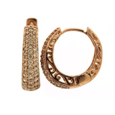 AE9 Σκουλαρίκια ροζ χρυσός alloy με πέτρες 981f0b29f2e