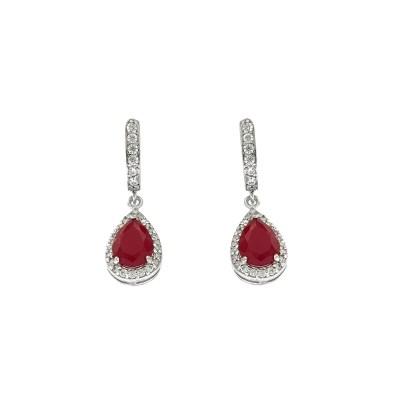 EARCOLA7 Ασημένια 925 σκουλαρίκια ροζέτες δάκρυ κρεμαστά με λευκά ζιργκόν  και κεντρική πέτρα κόκκινη μάτ τύπου swarovski επιπλατινωμένα 76fcceab1e2