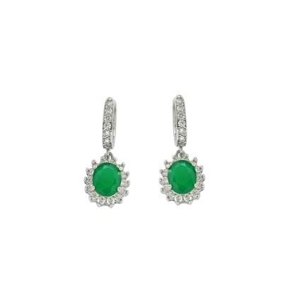 EARCOLB5 Ασημένια 925 σκουλαρίκια ροζέτες οβάλ κρεμαστά με λευκά ζιργκόν  και κεντρική πέτρα πράσινη μάτ τύπου swarovski επιπλατινωμένα ad492d22c9f