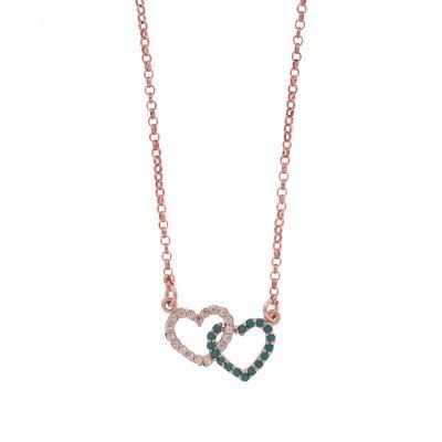 K110 Ασημένια 925 διπλή καρδιά με λευκά και τυρκουάζ ζιργκόν σε ρόζ  επιχρύσωμα Κ18 60e750fa2d9