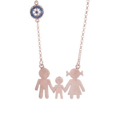 K374 Ασημένια 925 οικογένεια μπαμπάς μαμά με ένα αγοράκι με ματάκι σε ρόζ  επιχρύσωμα Κ18 9a0711c616a